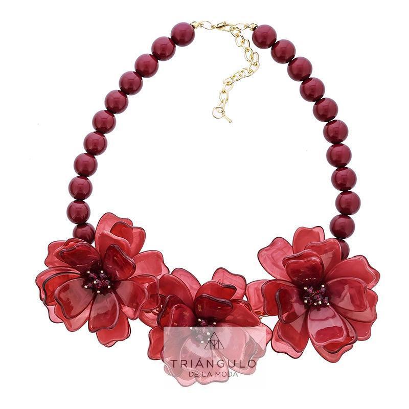 Tienda online del Triangulo de la Moda Gargantilla triple flor cuentas