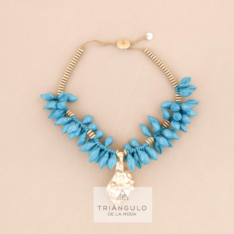 Tienda online del Triangulo de la Moda Gargantilla cuenta resina colgante caracol metal