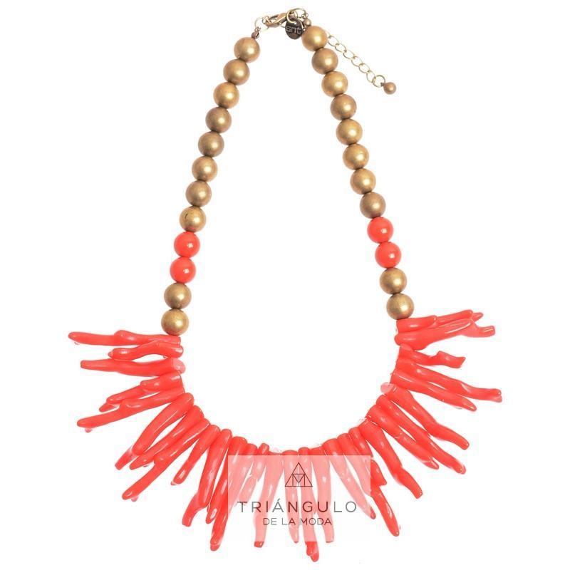 Tienda online del Triangulo de la Moda Gargantilla bolas imi. coral