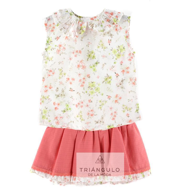 Tienda online del Triangulo de la Moda Falda con camisa coral