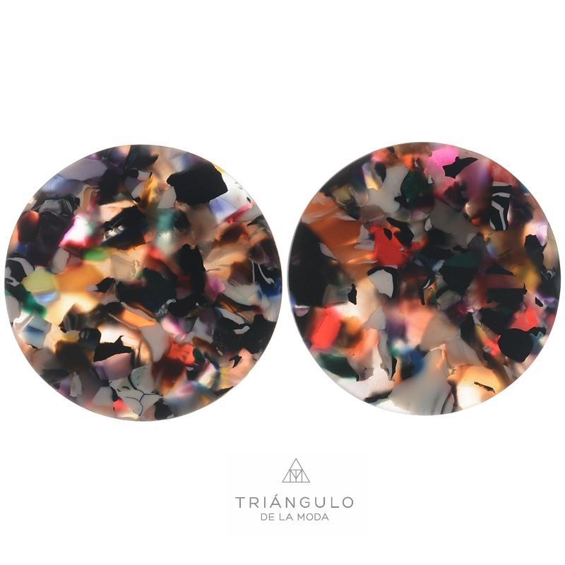 Tienda online del Triangulo de la Moda Pendientes medalla estampado resina