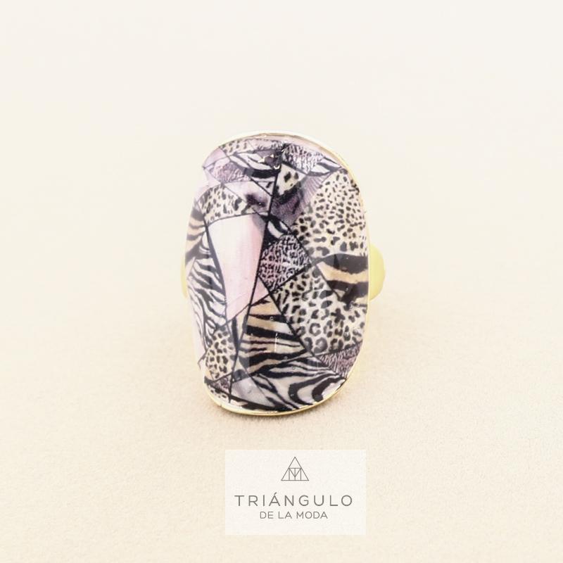 Tienda online del Triangulo de la Moda Anillo estampado metal esmalte