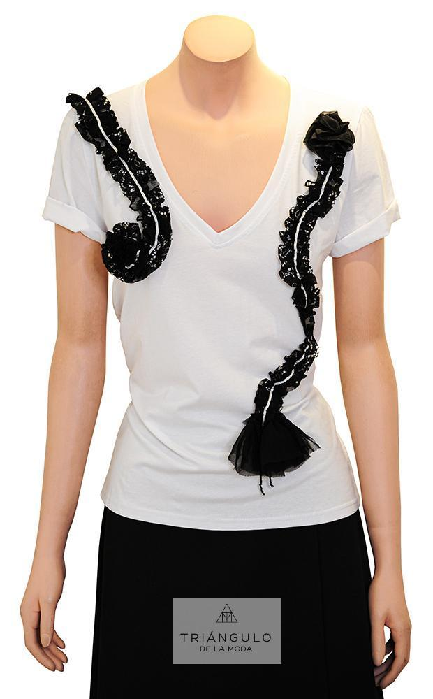 Tienda online del Triangulo de la Moda Camiseta algodón adornada