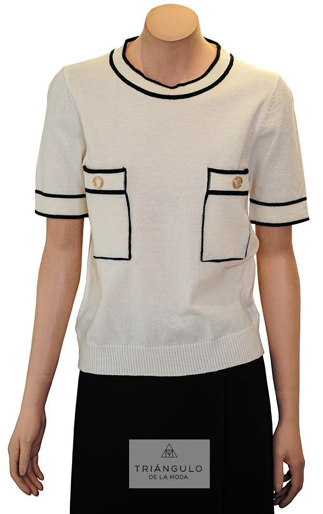 Tienda online del Triangulo de la Moda Jersey de manga corta con bolsillos en delantero