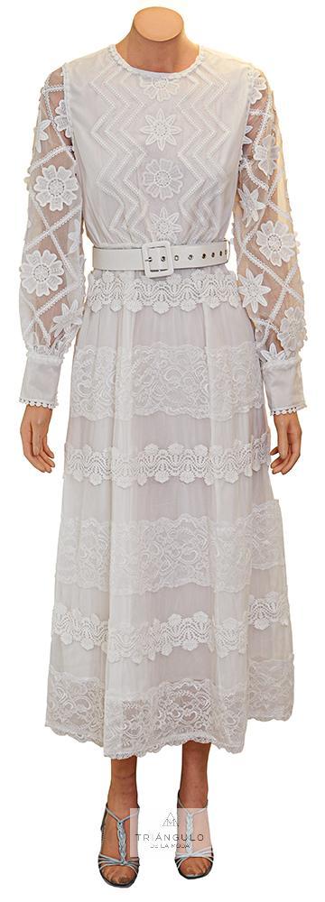 Tienda online del Triangulo de la Moda Vestido Blanco con adornos encajes y guipures