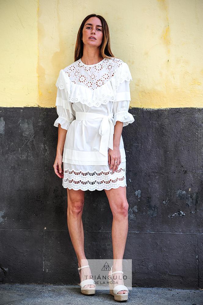 Tienda online del Triangulo de la Moda Vestido Corto Algodón Bordado