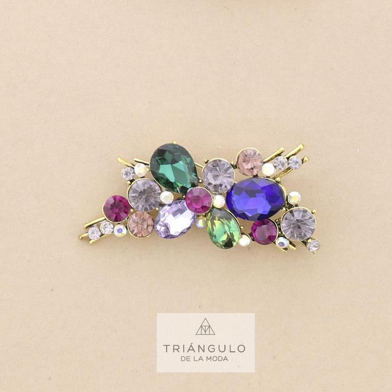 Tienda online del Triangulo de la Moda Broche rama metal cristales multicolor