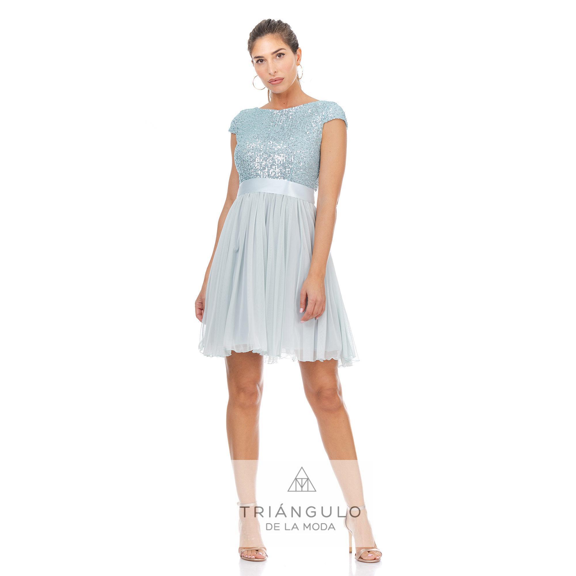 Tienda online del Triangulo de la Moda VESTIDO CON CUERPO DE LENTEJUELAS Y FALDA DE TUL