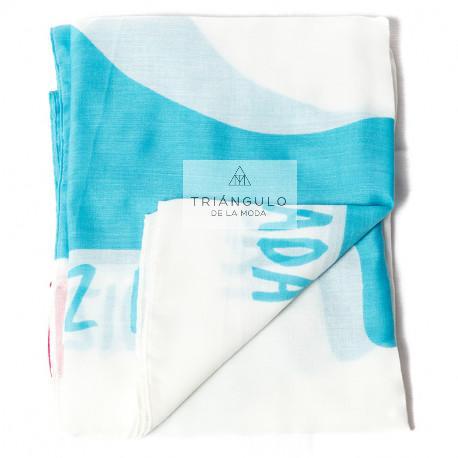 Tienda online del Triangulo de la Moda FULAR AGATHA PRINT NUBES GRANDES BLANCO AZUL