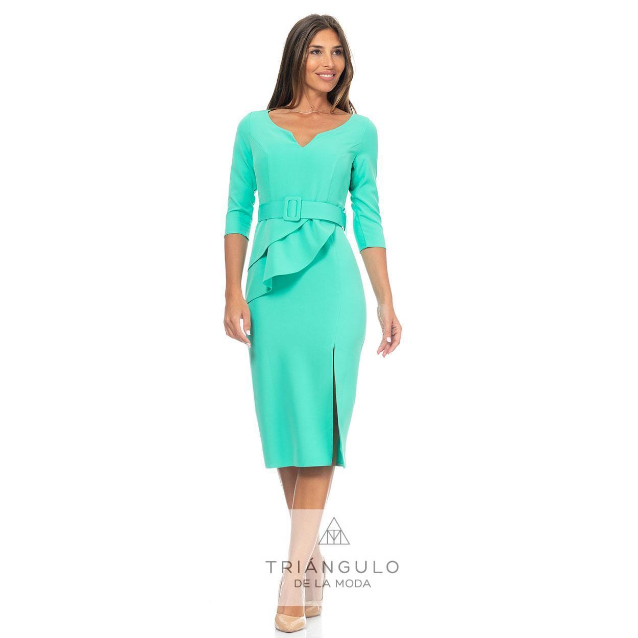 Tienda online del Triangulo de la Moda VESTIDO CON CINTURON Y VOLANTES EN CINTURA