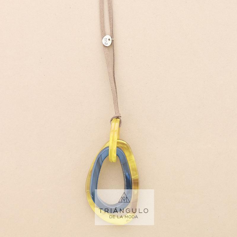 Tienda online del Triangulo de la Moda Collar largo colgante doble anilla resina