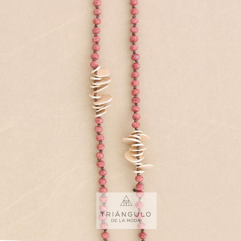 Tienda online del Triangulo de la Moda Collar largo cristales facetados medallitas metal
