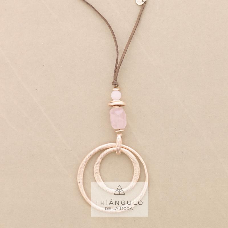Tienda online del Triangulo de la Moda Collar largo colgante piedras doble anilla metal