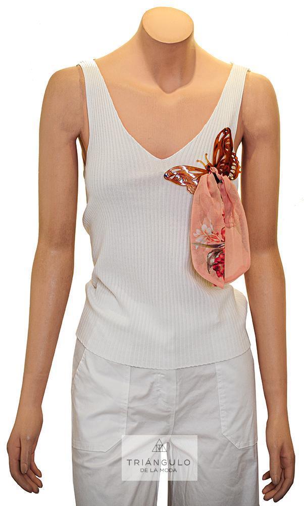 Tienda online del Triangulo de la Moda Camiseta punto canalé adornada