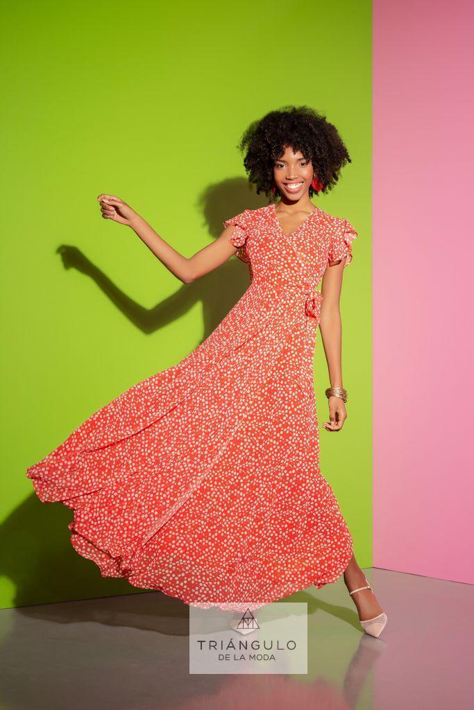 Tienda online del Triangulo de la Moda Vestido largo topos