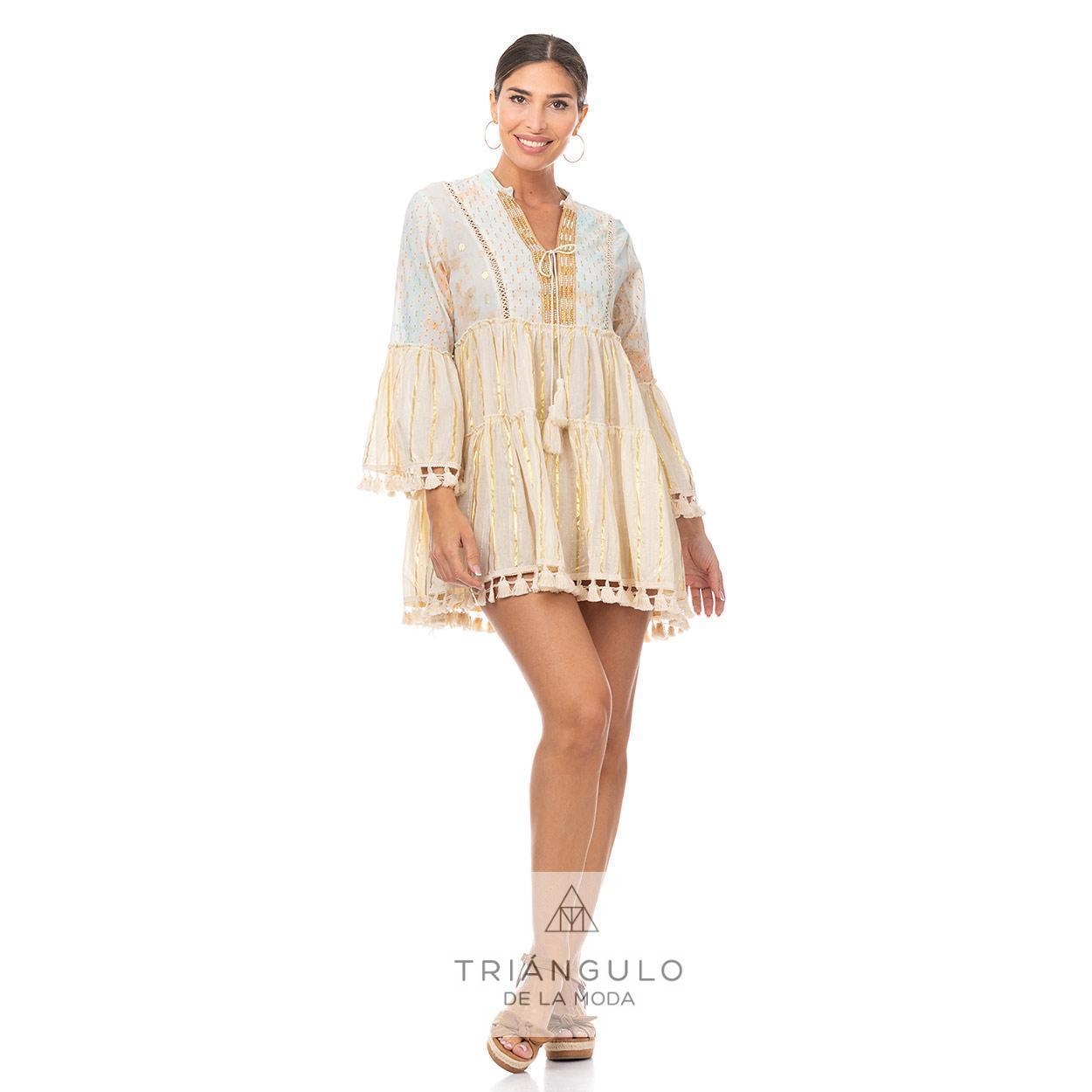 Tienda online del Triangulo de la Moda CASACA BOHO CHIC PERLITAS HILO DORADO