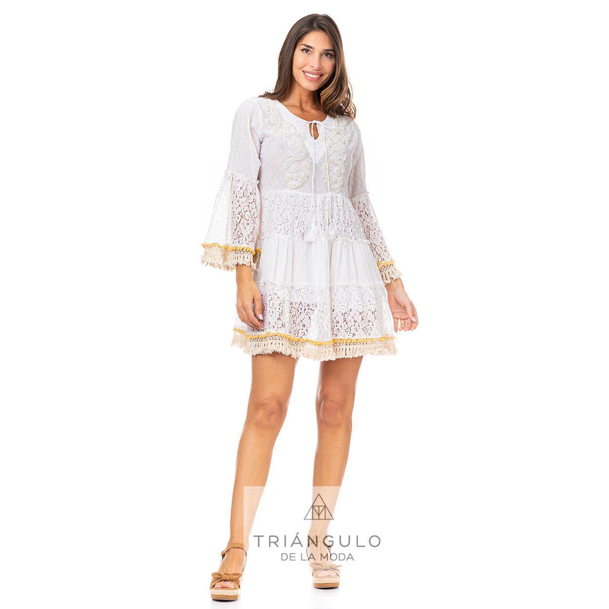 Tienda online del Triangulo de la Moda VESTIDO CORTO BOHO PLUMETI M/MADROÑOS