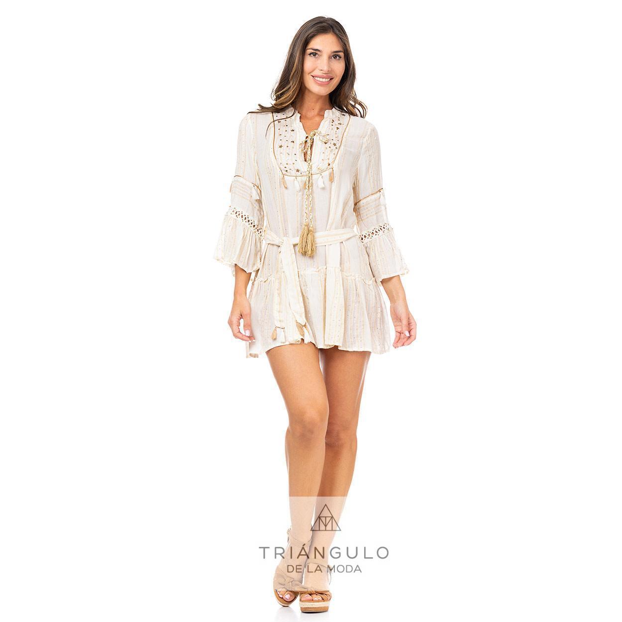 Tienda online del Triangulo de la Moda VESTIDO CORTO BOHO BORDADO ESTRELLAS