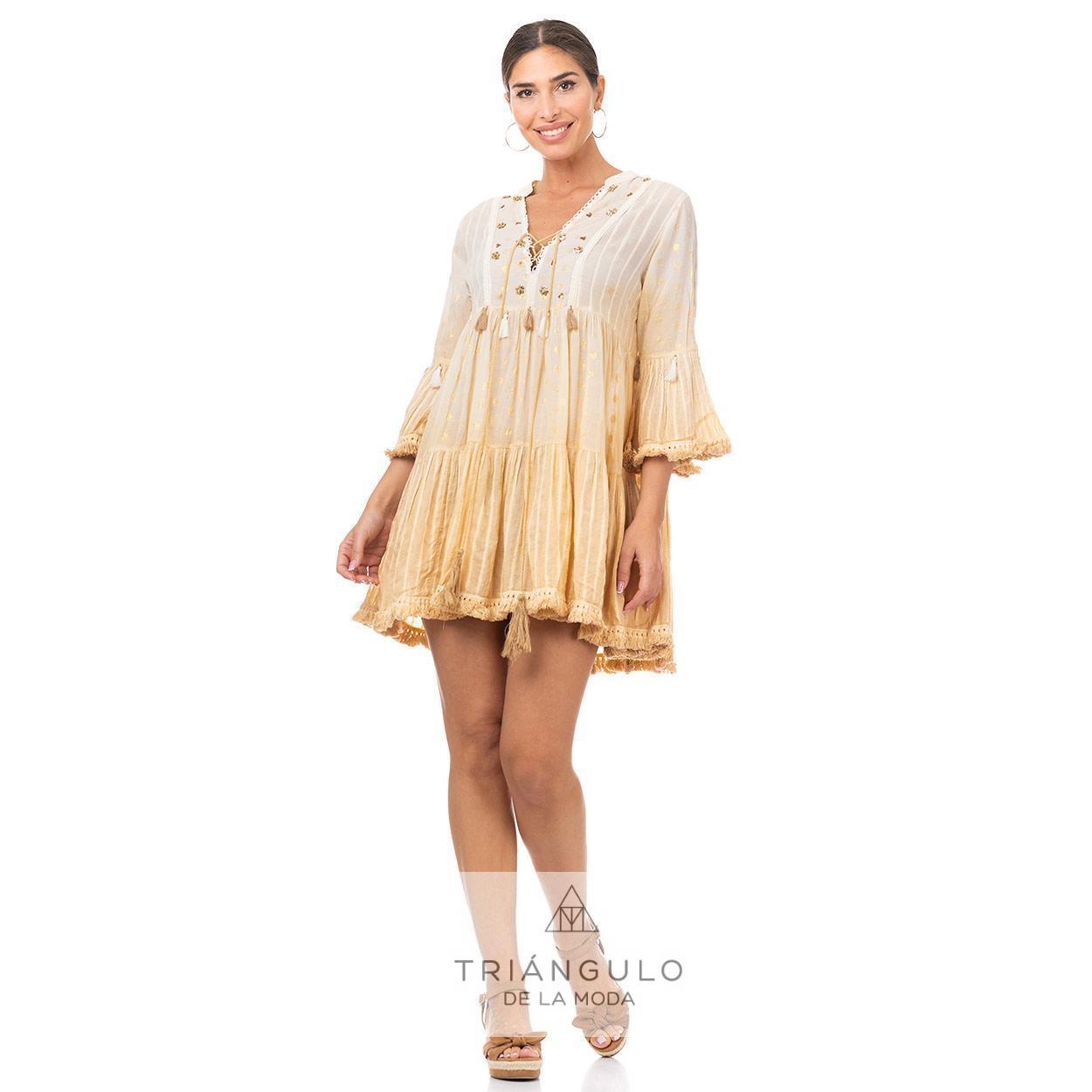 Tienda online del Triangulo de la Moda CASACA BOHO CHIC BORDADO CON ABALORIOS Y HILO DORADO