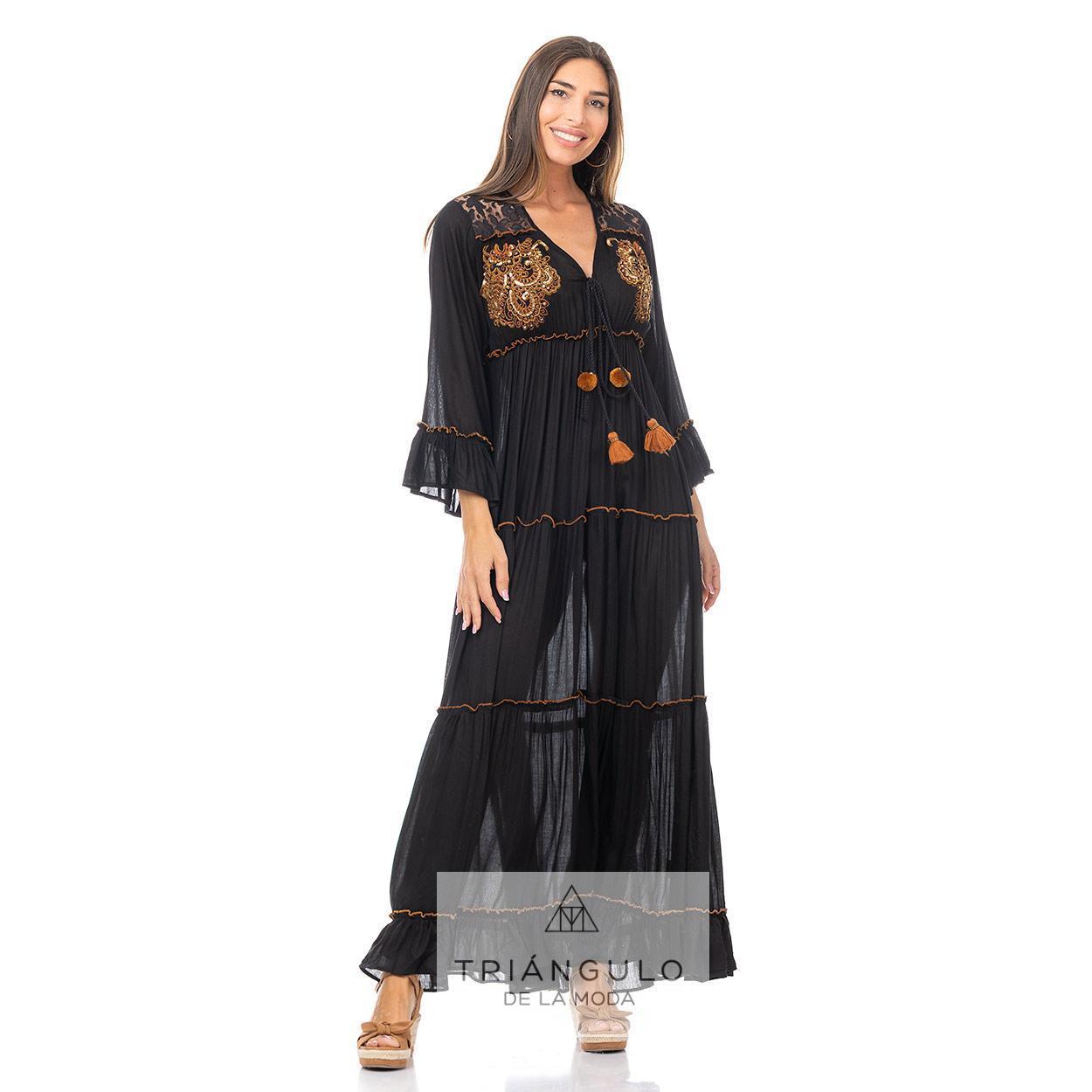 Tienda online del Triangulo de la Moda VESTIDO LARGO  BOHO CHIC BORDADO CON ABALORIOS Y BORLONES