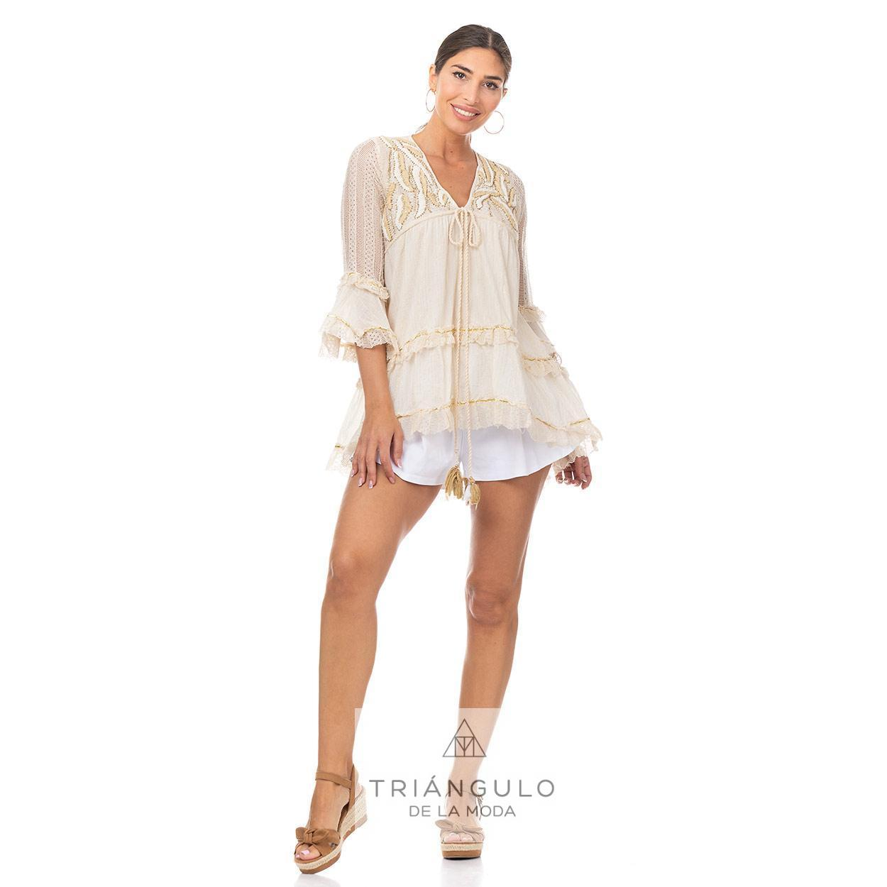 Tienda online del Triangulo de la Moda CASACA BOHO CHIC C/BORDADO CON LENTEJUELAS Y VOLANTES