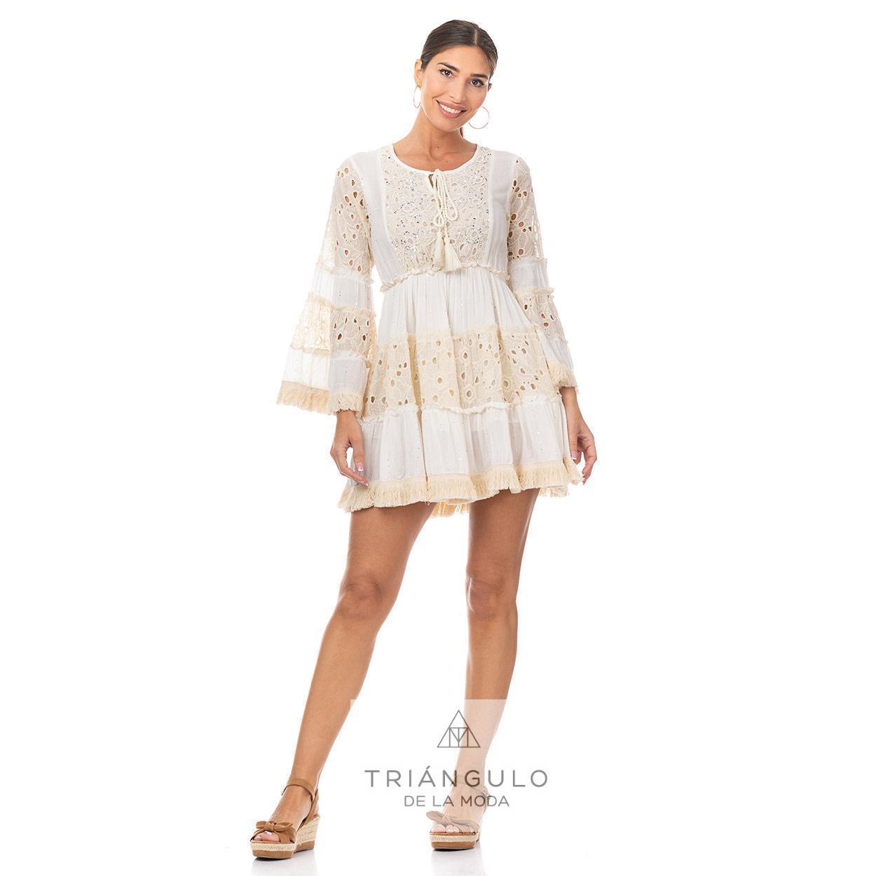 Tienda online del Triangulo de la Moda CASACA BOHO CHIC COMBI BLONDA Y FLECOS C/ABALORIOS