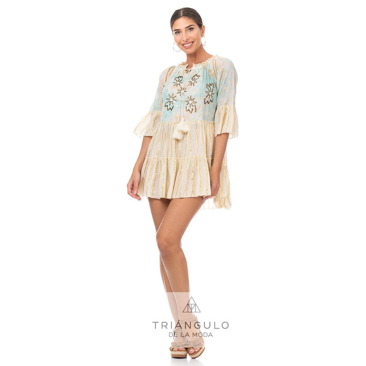 Tienda online del Triangulo de la Moda CASACA BOHO CHIC BRILLO DORADO BORDADO CON LENTEJUELAS