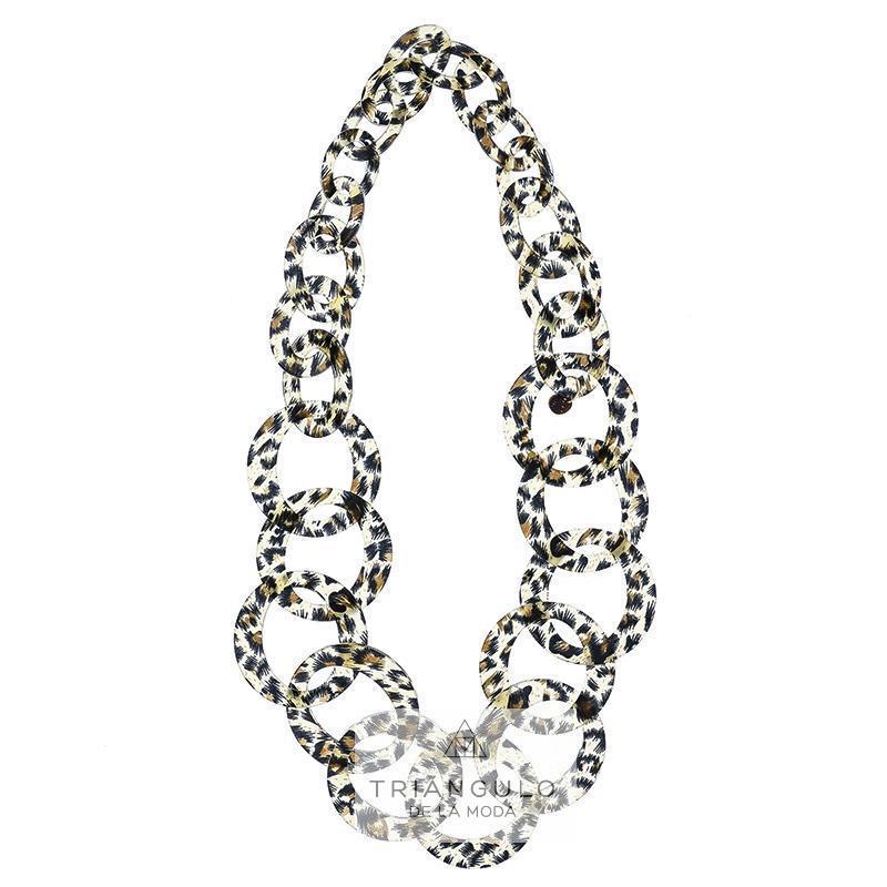 Tienda online del Triangulo de la Moda Collar largo eslabones leopardo