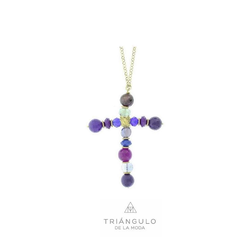 Tienda online del Triangulo de la Moda Collar largo colg cruz piedras