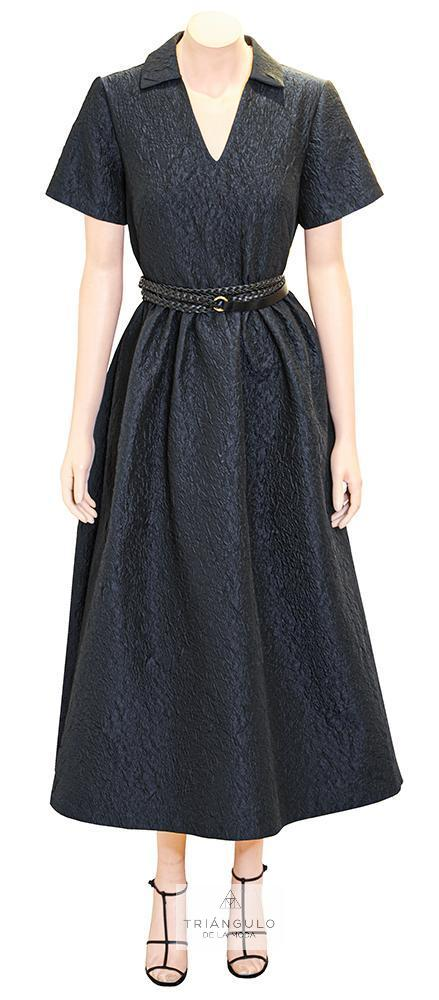 Tienda online del Triangulo de la Moda Vestido Midi Nanga corta azul marino