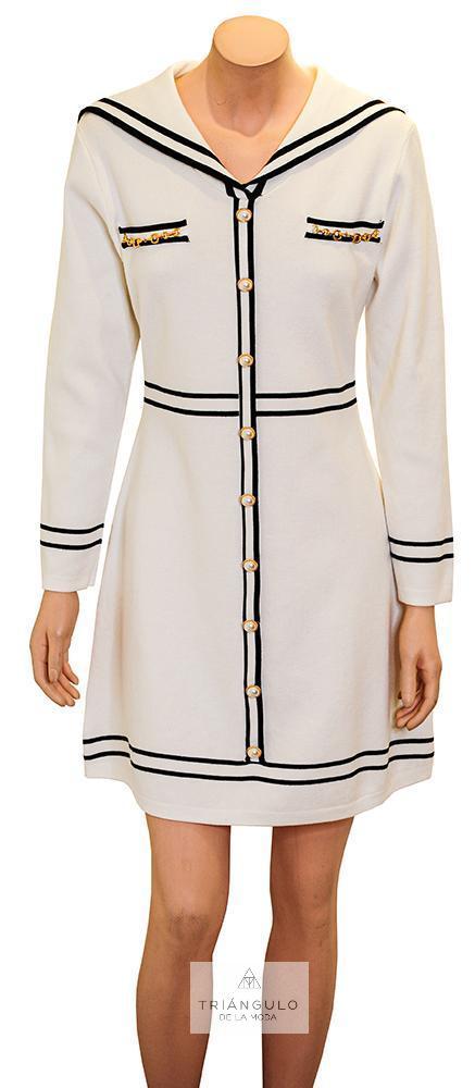 Tienda online del Triangulo de la Moda Vestido en punto con cuello marinero.