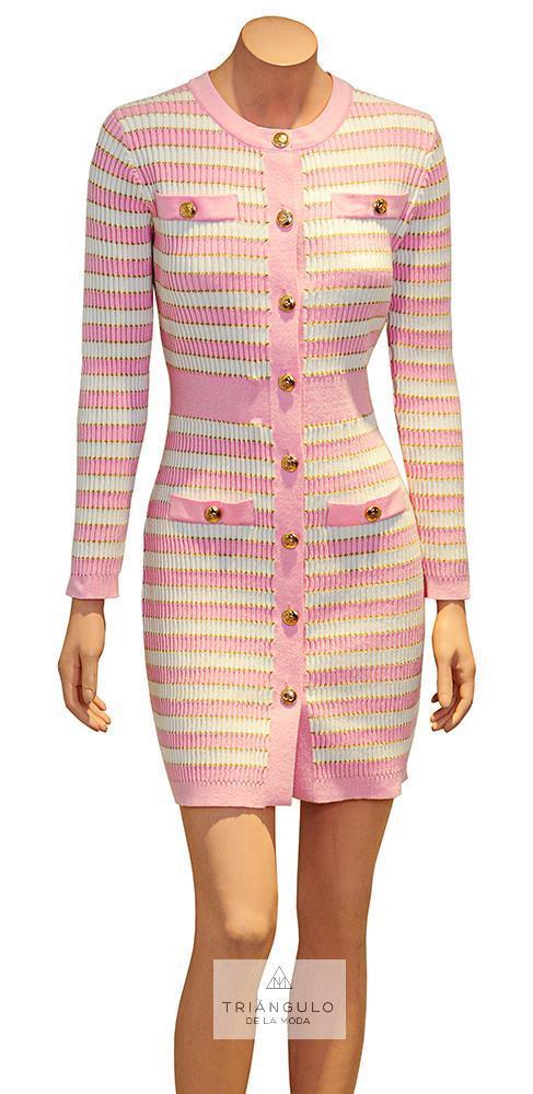 Tienda online del Triangulo de la Moda Vestido de rayas en punto canalé