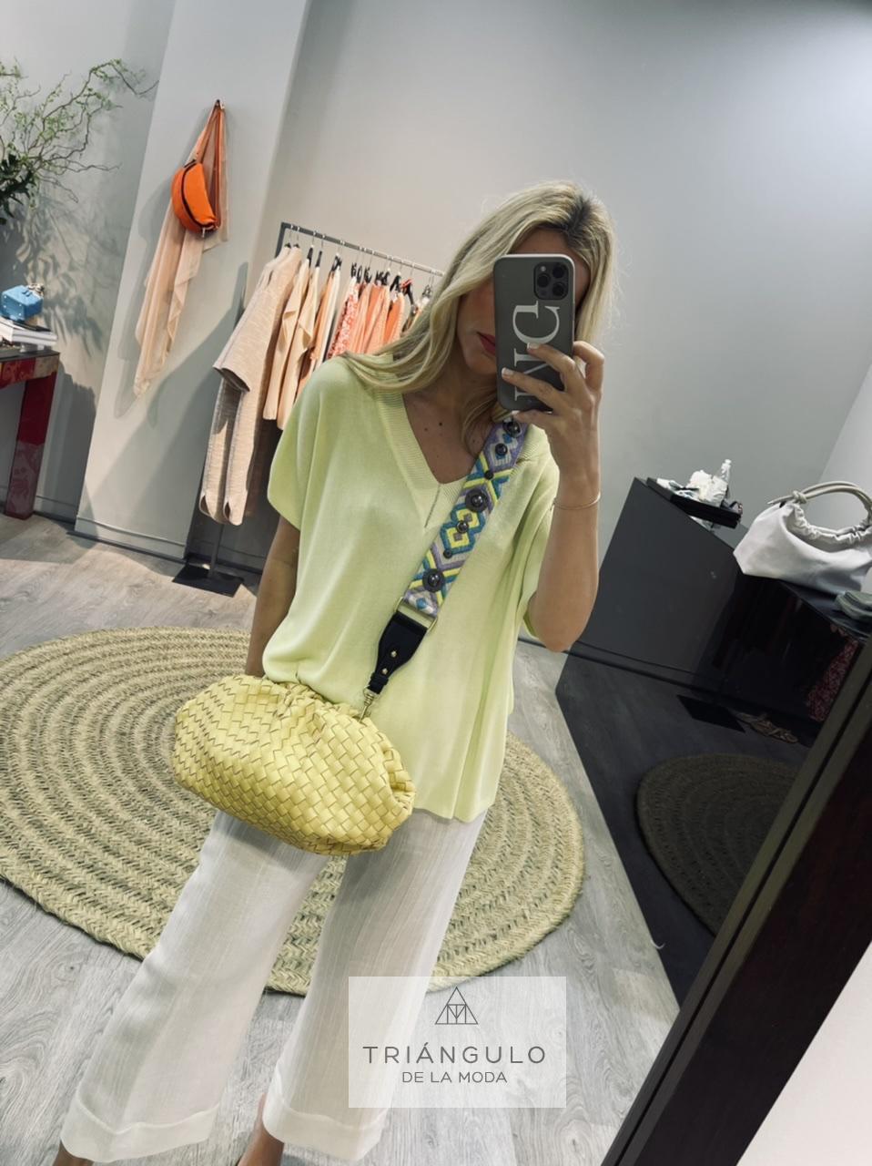 Tienda online del Triangulo de la Moda Jersey de pico con detalle strass
