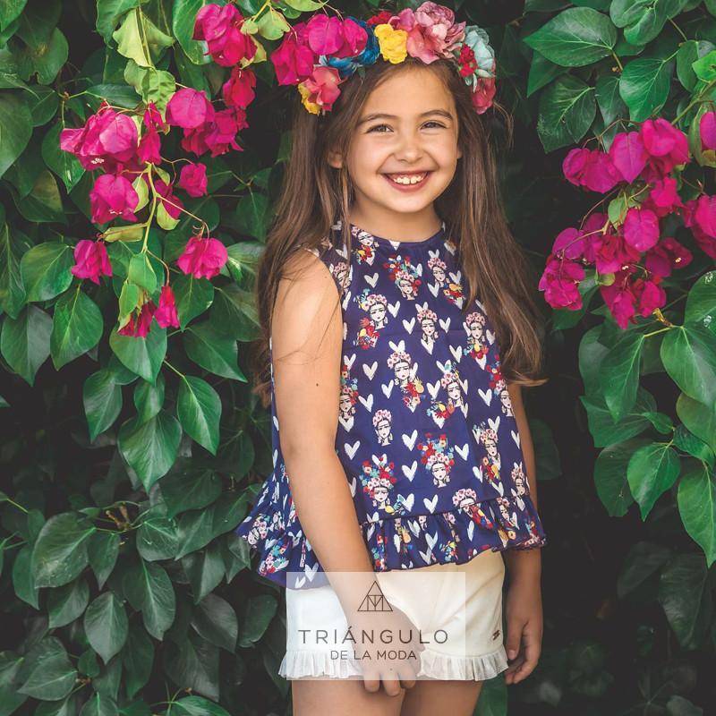 Tienda online del Triangulo de la Moda  Conjunto niña florida azul