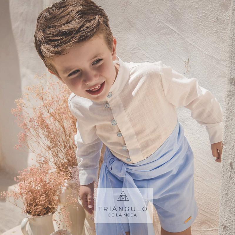 Tienda online del Triangulo de la Moda Conjunto  dos piezas niño lino  azul
